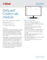 OnGuard Credentials Data Sheet
